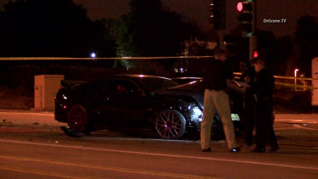 A woman was killed in a three-car hit-and-run crash in Irvine. Photo courtesy of OnSceneTV