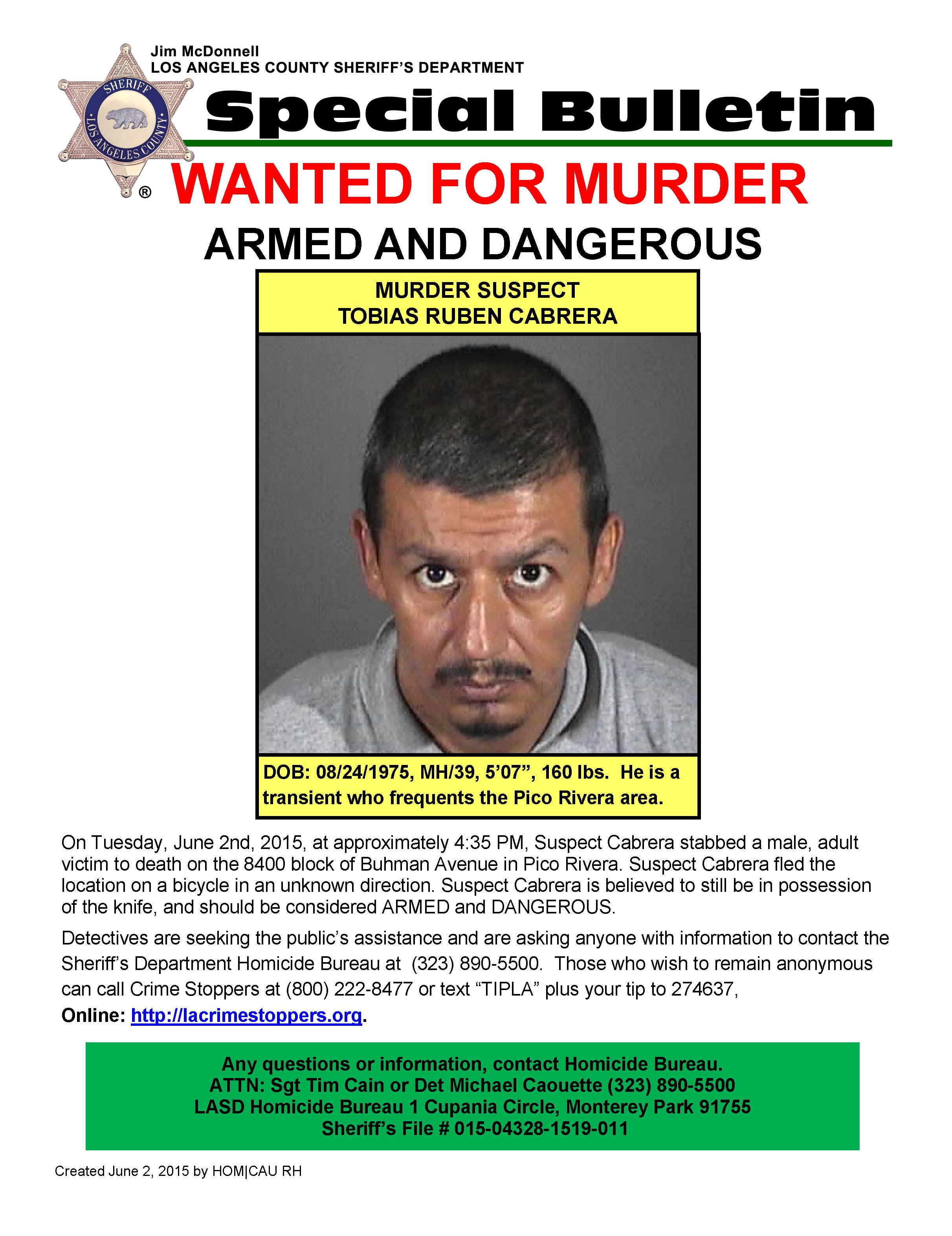 Transient wanted as suspect in Pico Rivera stabbing death - MyNewsLA.com