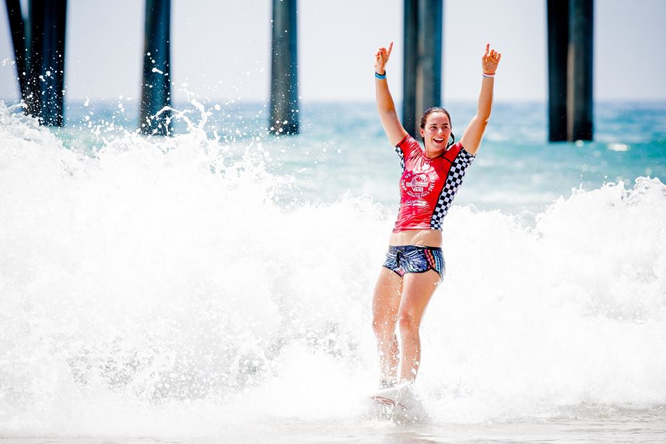The 2014 U.S. Open of Surfing champion Tyler Wright celebrating. Photo by Michael Lallanade via U.S. Open of Surfing