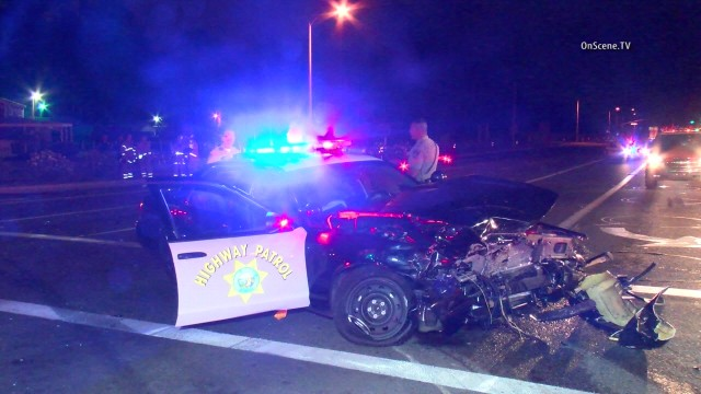Two people, one of them a California Highway Patrol officer, were hospitalized after an officer-involved collision in Irvine. Photo via OnScene.TV