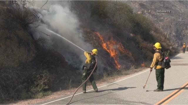 Firefighters battling the Cabin fire north of Glendora. Courtesy of OnScene.TV