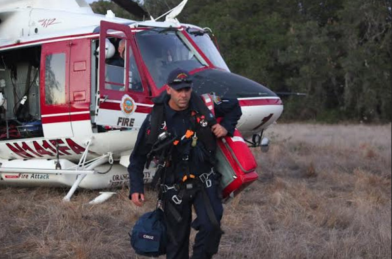 Three brothers were rescued off Chiquito Falls on Sunday. Photo courtesy of Orange County Fire Authority