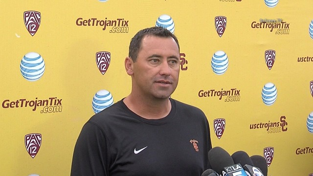 Steve Sarkisian at the USC press conference. Photo courtesy of OnSceneTV