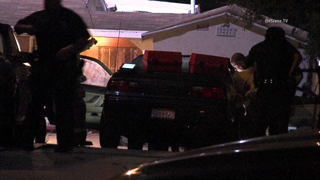 A woman was shot to death inside a car in the Glassel Park section of Los Angeles. Photo via OnScene.TV.