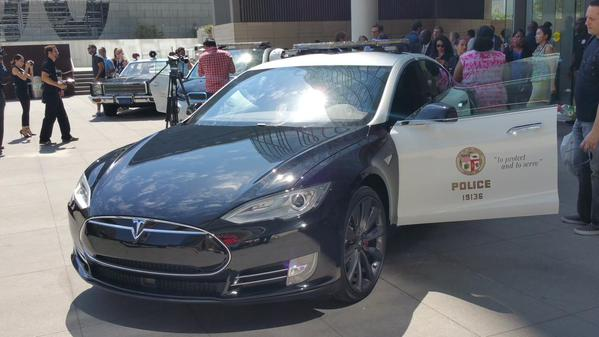 A new LAPD electric patrol car on loan from Tesla on display at the police headquarters. Photo courtesy of the LAPD