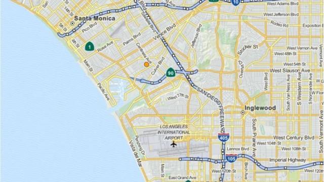 Orange dot on USGS map shows location of Marina Del Rey earthquake.