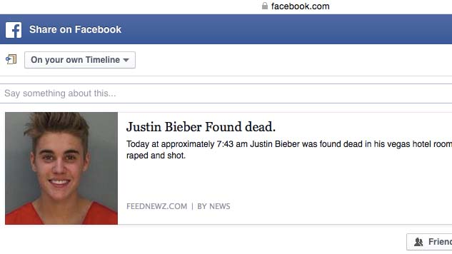 Justin Bieber death hoax was created on prank.link and spread via Facebook. Image via prank.link