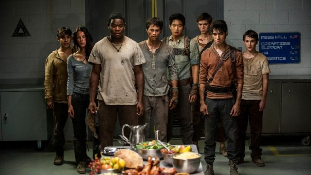 Still of Thomas Brodie-Sangster, Alexander Flores, Kaya Scodelario, Dexter Darden, Dylan O'Brien, Ki Hong Lee, Bryce Romero and Gary Hood in 'Maze Runner: The Scorch Trials.' Photo by Richard Foreman Jr./20th Century Fox