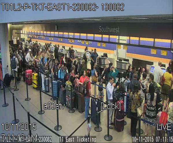 A Southwest Airlines ticketing computer failure caused long lines at LAX. Photo courtesy of LAX Airport Police