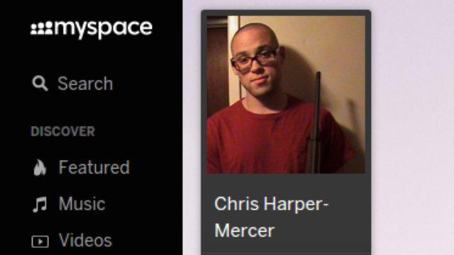 A screenshot of a MySpace profile purportedly belonging to Chris Harper Mercer.