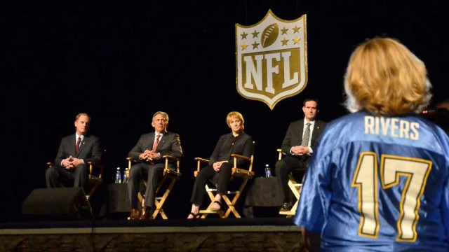 A Charger fan speaks at the NFL forum at the Spreckels Theatre in downtown San Diego. Photo by Chris Stone
