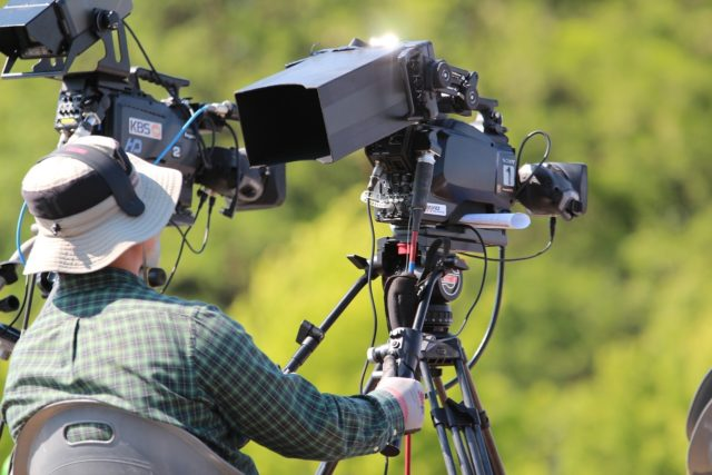 A film/TV camera on the set. Photo via Pixabay.