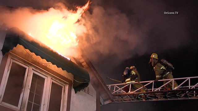 Firefighters battle a blaze at a vacant house in Koretown. Courtesy OnScene.TV