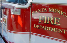 a santa monica fire department truck's emblem