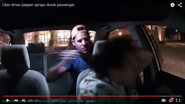Benjamin Allen Golden shown allegedly attacking Uber driver Edwards Caban. Image from YouTube