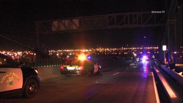 A man on a bicycle was struck and killed by two vehicles on the Vincent Thomas Bridge, authorities said. Photo via OnScene.TV.