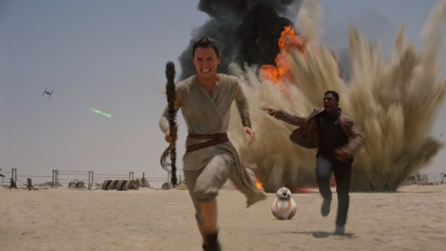 Still of John Boyega and Daisy Ridley in 'Star Wars: The Force Awakens.' Photo courtesy of LucasFilms
