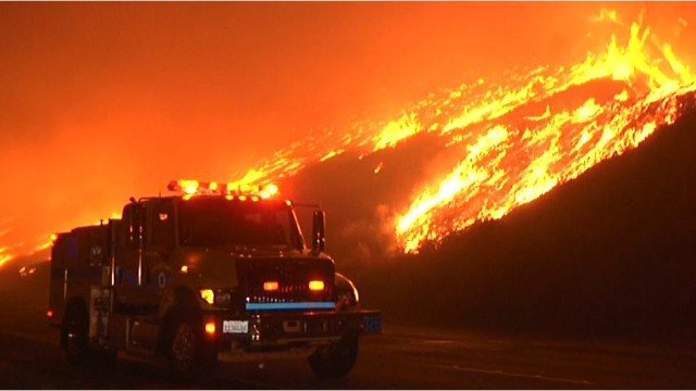 The 900-acre brush fire near Solimar Beach in Ventura County. Courtesy OnScene.TV.