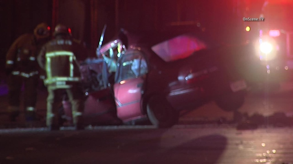 Authorities are still figuring how a driver crashed into the median in this fatal accident. Photo courtesy of OnSceneTV