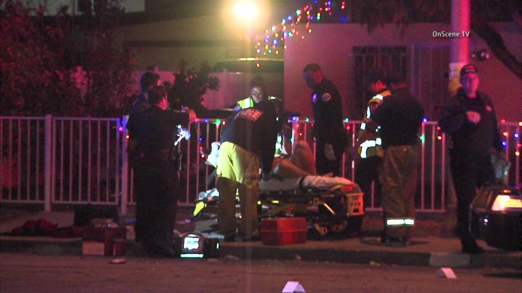 A man was wounded in an officer-involved shooting in Pomona. Photo via OnSceneTV