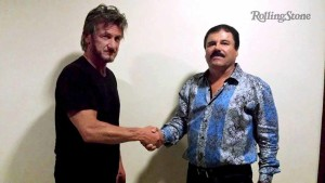 "Actor Sean Penn shakes hands with Mexican drug lord Joaquin ""Chapo"" Guzman in Mexico, in this undated Rolling Stone handout photo obtained by Reuters on January 10, 2016.  Photo via Reuters"