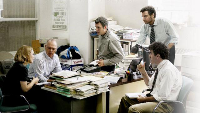 "Scene from ""Spotlight."" Image from film poster"