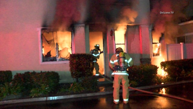 An investigation was underway today in Anaheim, where firefighters put out a noninjury fire at an apartment building where a marijuana stash was being kept, authorities said. Photo via OnScene.TV.