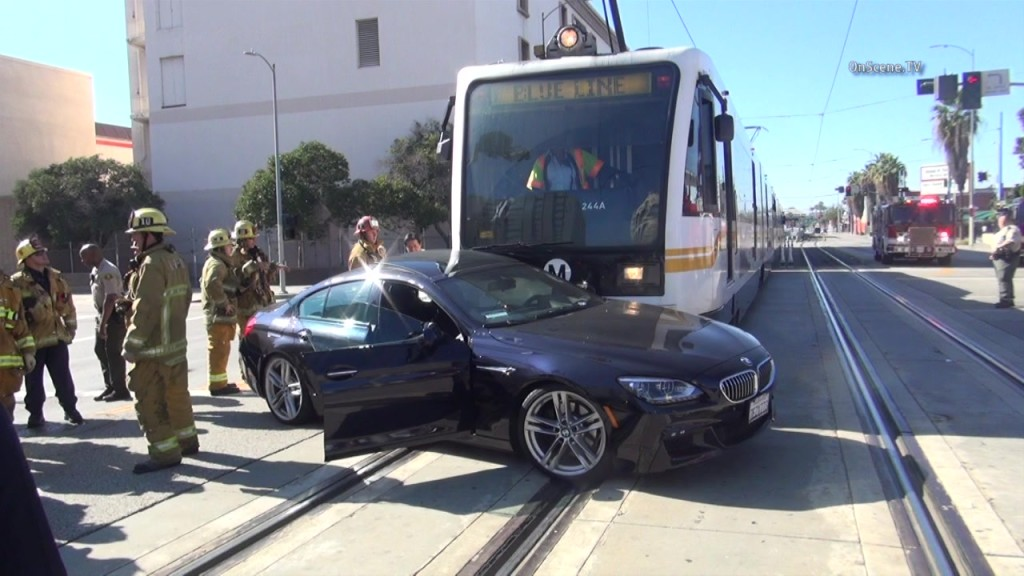 The BMW sedan was hit on the driver's side by a Blue Line train. Courtesy OnScene.TV