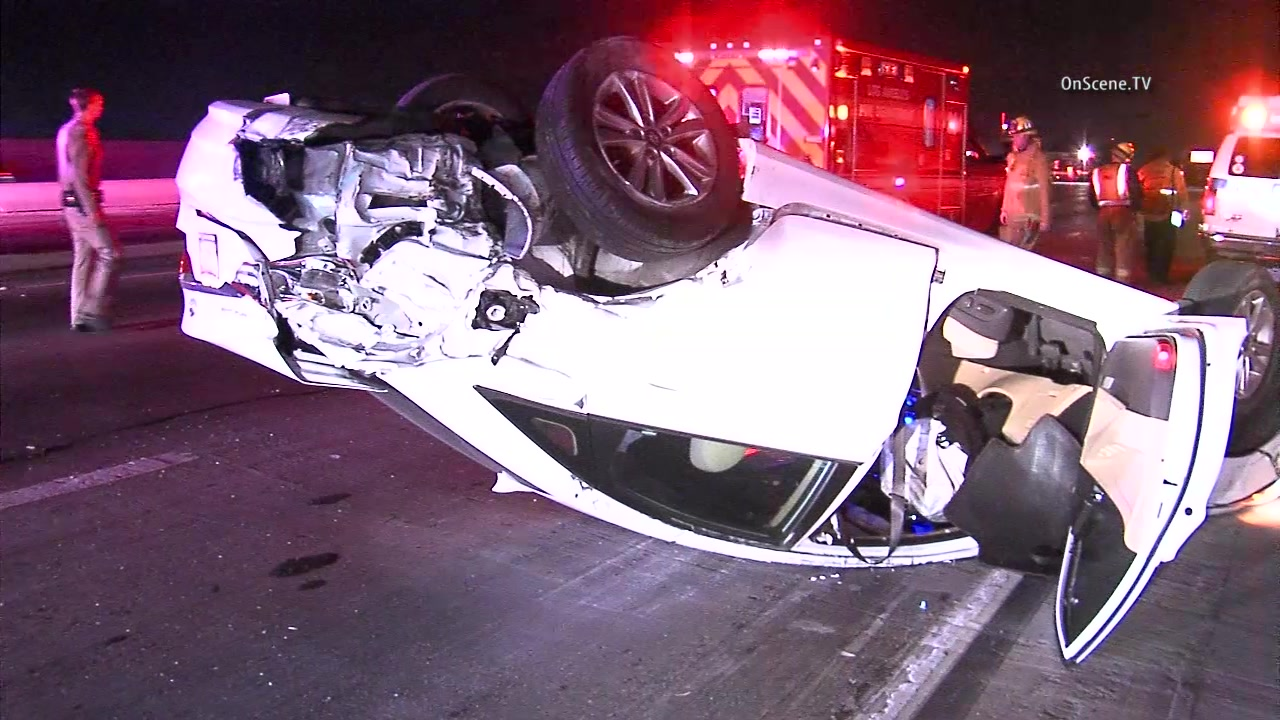High-speed, 3-vehicle chase leaves one car on side, 110