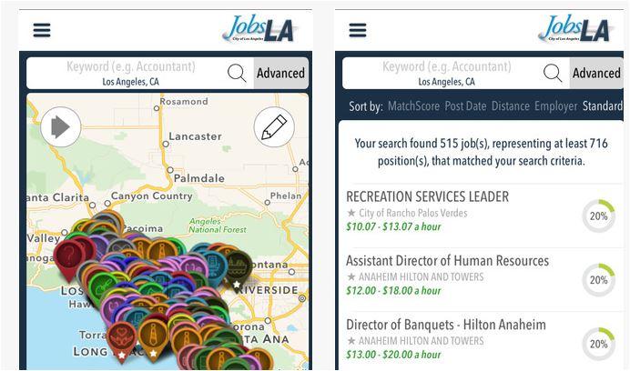 Screenshot of JobsLA app for iOS. Courtesy Apple Store