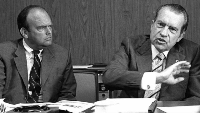 Domestic policy adviser John Ehrlichman and President Richard Nixon. Photo via Associated Press and Facebook