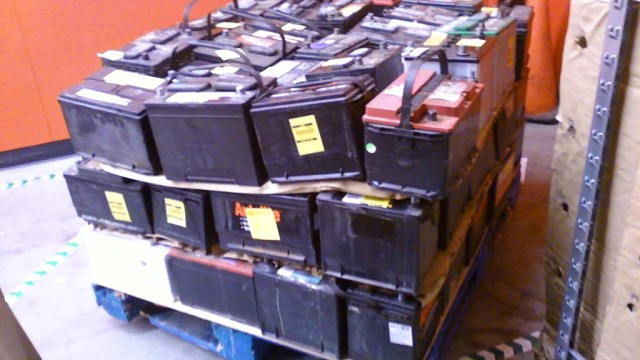 Batteries set for recycling of the kind at Exide plant.