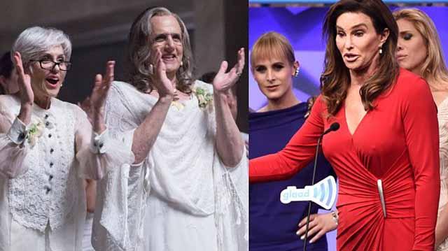 "Caitlyn Jenner (right) and ""Transgender"" star Jeffrey Tambor. Image via Twitter"
