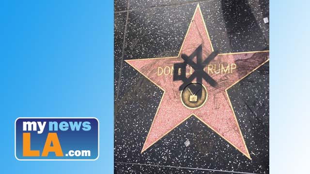 Mute symbol is among several signs of vandalism against Donald Trump star on Hollywood Walk of Fame. Photo via Twitter