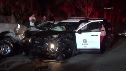 Two officers were injured in a North Hills crash, April 17, 2016. Courtesy of OnScene.TV