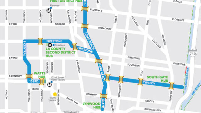 The streets involved in Sunday's CicLAvia event.