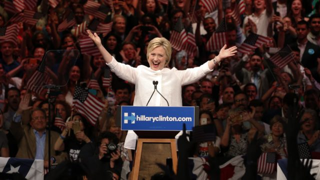 Democratic U.S. presidential candidate Hillary Clinton speaks during her California primary night rally held in the Brooklyn borough of New York, U.S., June 7, 2016. REUTERS/Lucas Jackson