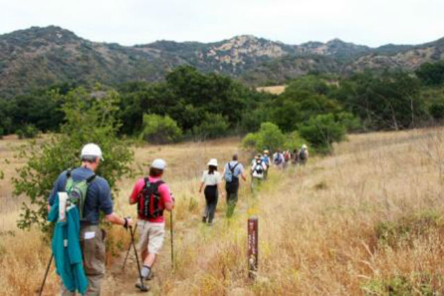 Hikers on a portion of the Backbone Trail. National Park Service photo by Jim Belsley