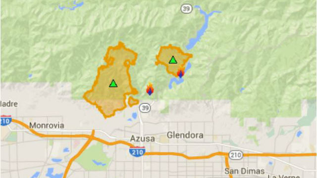 Official incident map shows locations of the two fires making up the San Gabriel Complex.