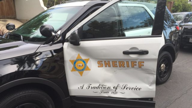 The damaged sheriff's cruiser. Photo courtesy Los Angeles County Sheriff