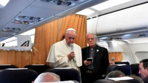 Pope Francis speaks to journalists on his flight back to Rome following a visit at Armenia on June 26, 2016. Photo by Tiziana Fabi via Reuters