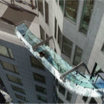 The Skyslide 70 stories above downtown Los Angeles. Courtesy U.S. Bank Tower