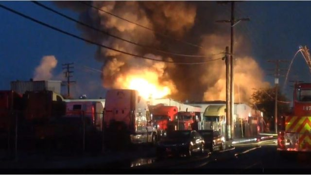 Smoke billows from the plastics warehouse fire in Maywood. Courtesy Los Angeles County Fire Department