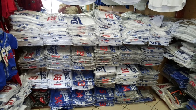 Counterfeit and Piracy Enforcement Team Detectives Seize $250,000 worth of Counterfeit LA MLB Jerseys. Photo via LASD