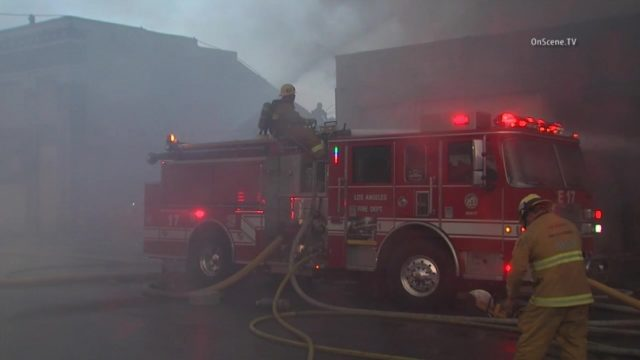 A fire engine at the pallet yard fire in downtown Los Angeles. Courtesy OnScene.TV