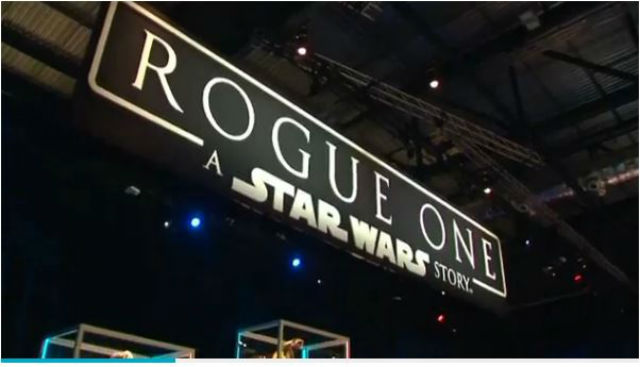 "A sign for ""Rogue One"" at a movie event in London. REUTERS"