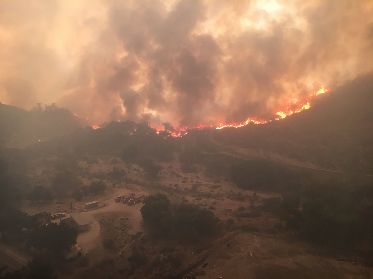 The view from a Los Angeles County Fire Department helicopter over Soledad Canyon. Courtesy LACFD Air Operations