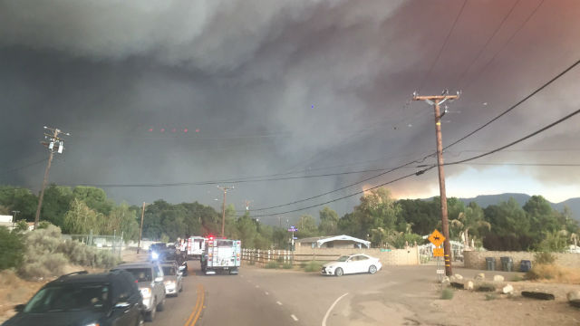 Smoke billows from the San Fire in Santa Clarita. Courtesy National Forest Service