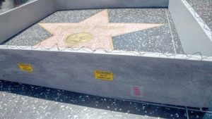 Wall around Donald Trump's star on the Hollywood Walk of Fame. Photo via Facebook