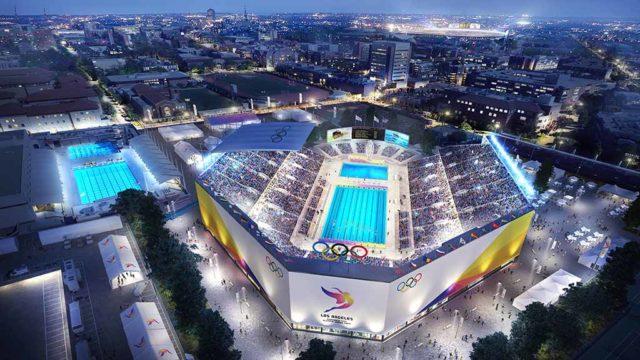 Artist's conception of USC's Dedeaux Field for aquatics at 2024 L.A. Olympics. Image via la24.org